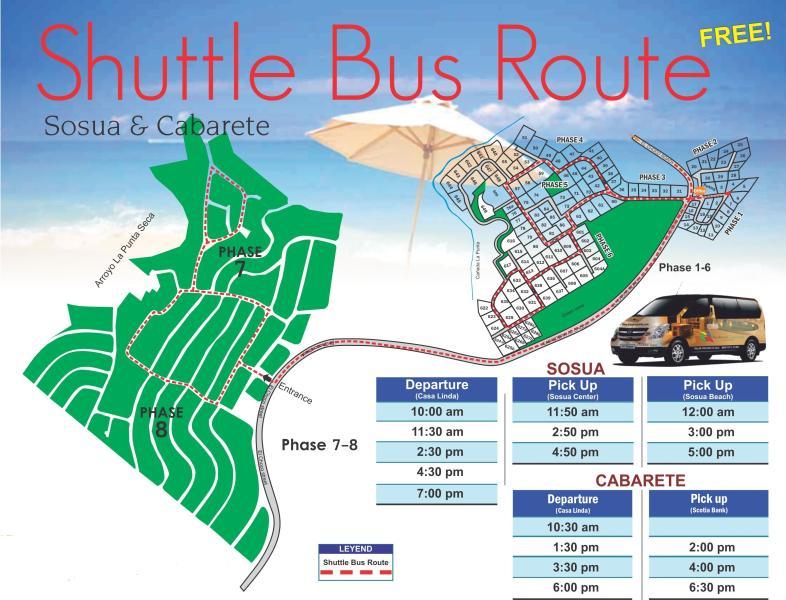 FREE Shuttle bus schedule to SOSUA and CABARETE