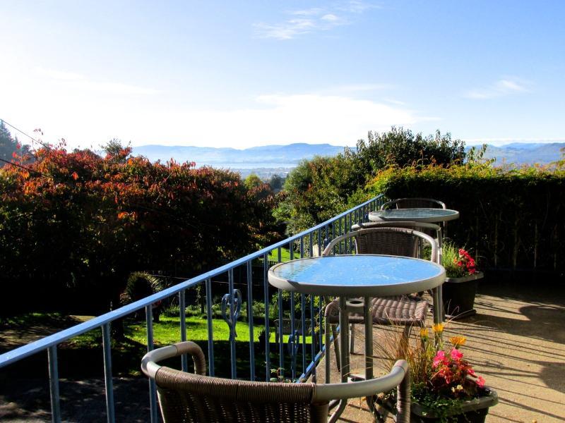 Balcony with panoramic view of Lake Rotorua & Mt. Tarawera