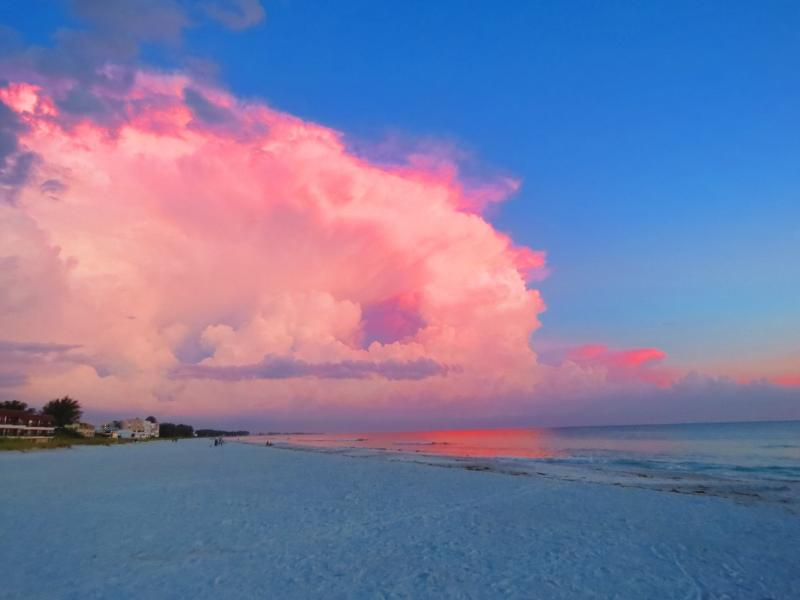 Magnificent sunsets! White sands and emerald  water where dolphins and manatees are often spotted.
