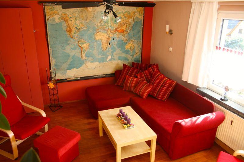 Living room with country map