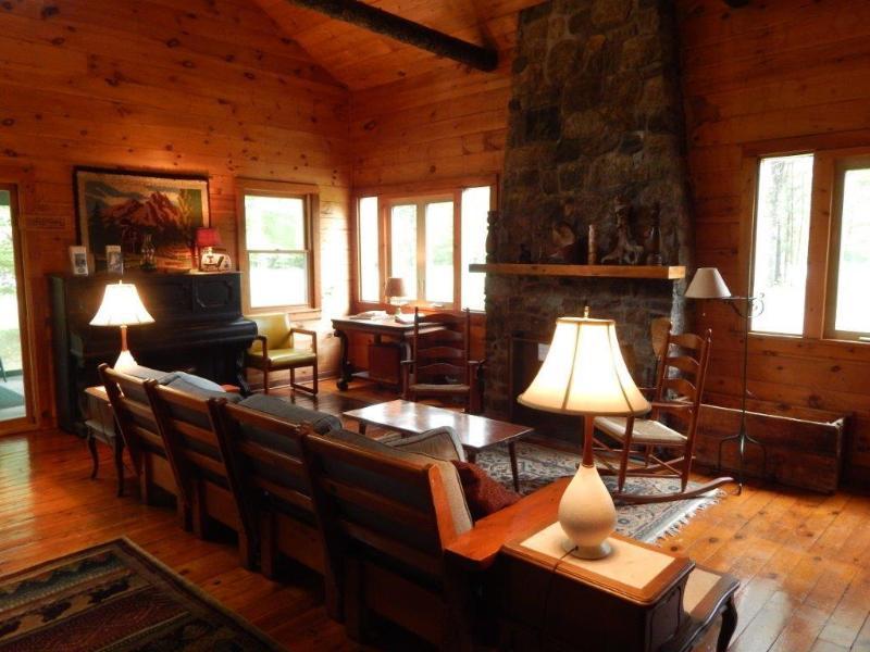 sala de estar y chimenea de piedra