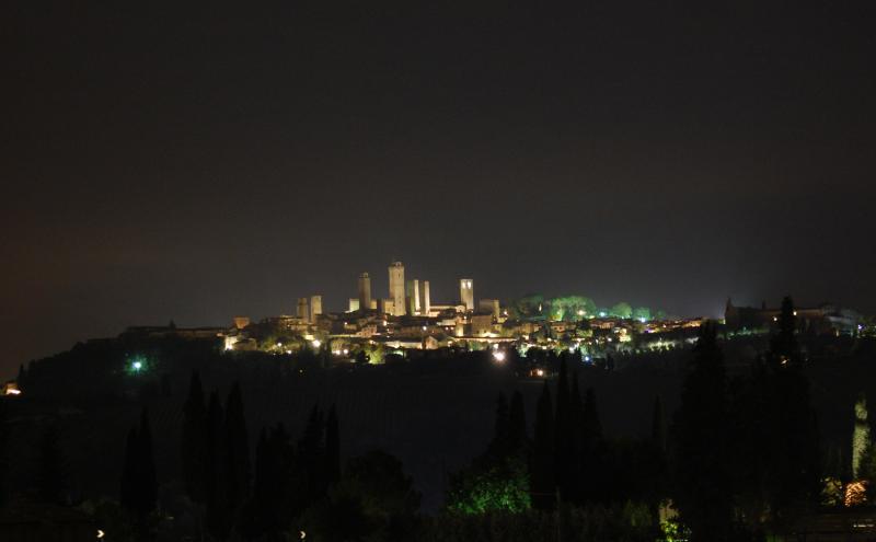 San Gimignano by night from Montegonfoli: