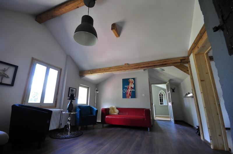 Mountain View.   Great for large groups.   Sleeps 12.   Modern and cosy., vacation rental in Gsteigwiler