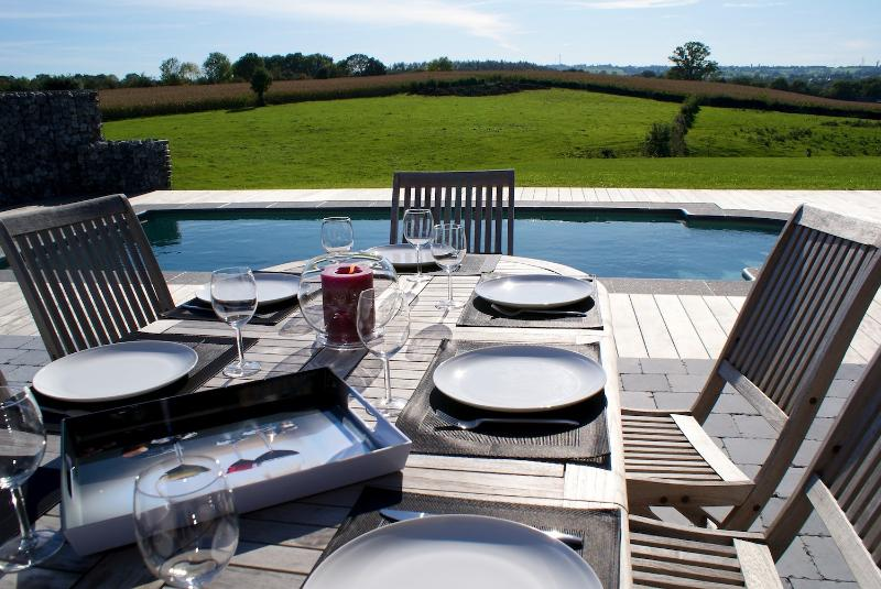 BBQ Area, garden furniture and lounge chairs.