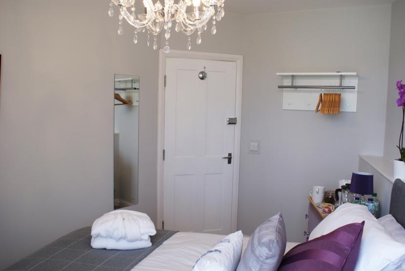 Hanging space, full size mirror, bath robe