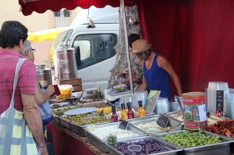 The olive lady at the lively Ceret Saturday market, not to be missed
