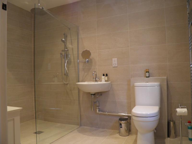 Downstairs bedroom en-suite wet room with wheelchair access