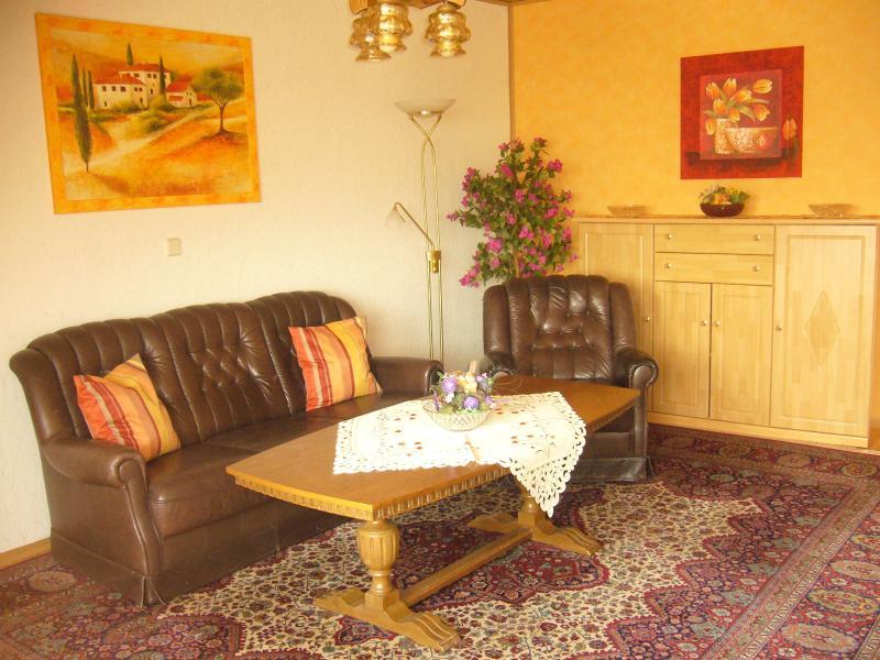 Ampio soggiorno con mobili in pelle e zona pranzo, SAT-TV, radio