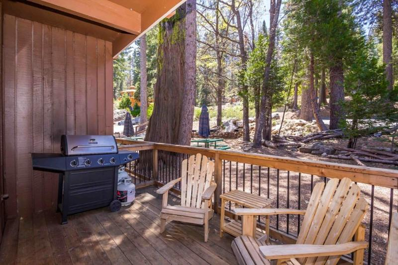 Your private deck with seating and gas barbecue.