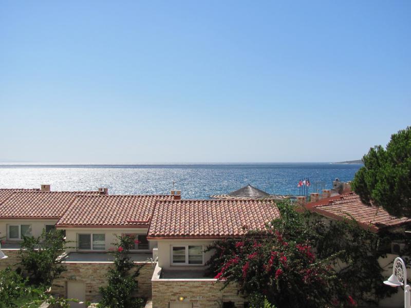 landmark view, facing the Corfu island, Bougainville Bay resort, sea view, balcony