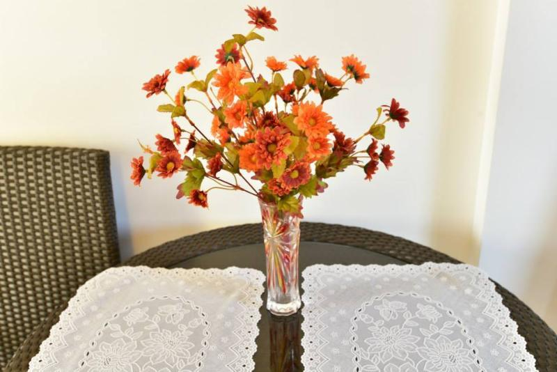 rattan table with flowers