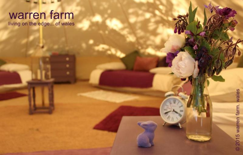 Inside Damson, one of our very spacious 6m bell tents