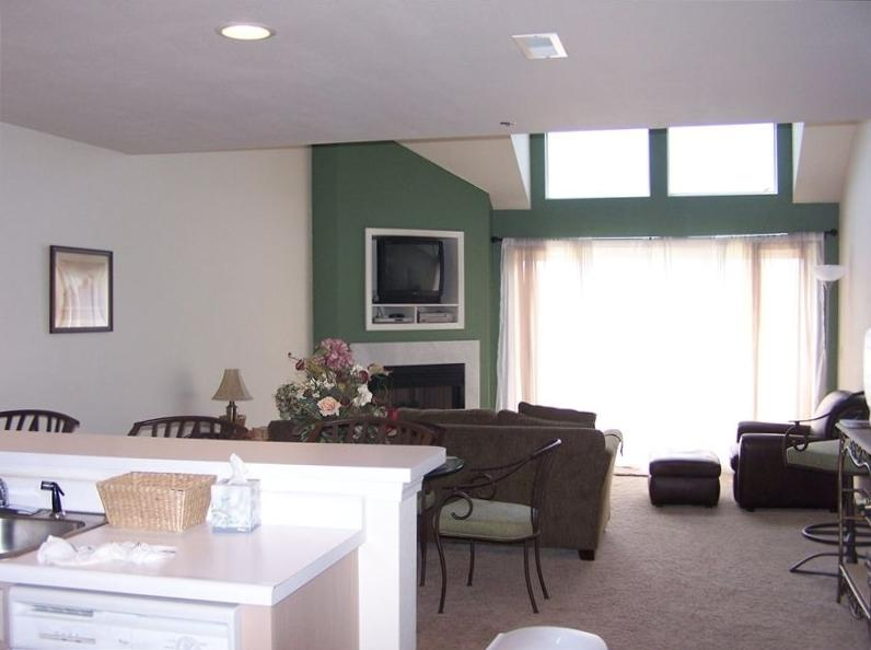 Condo B41 Family Room. We added a flat screen tv & have wifi but there is so much to do at the lake!