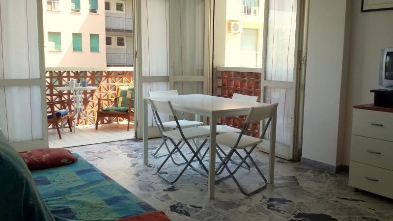 L'ampio soggiorno con accesso al balconcino.