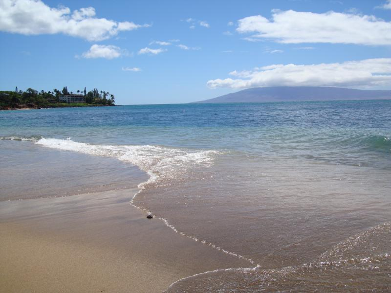 Looking south, swim, snorkel or boogie board in our shallow warm ocean at Kahana Beach