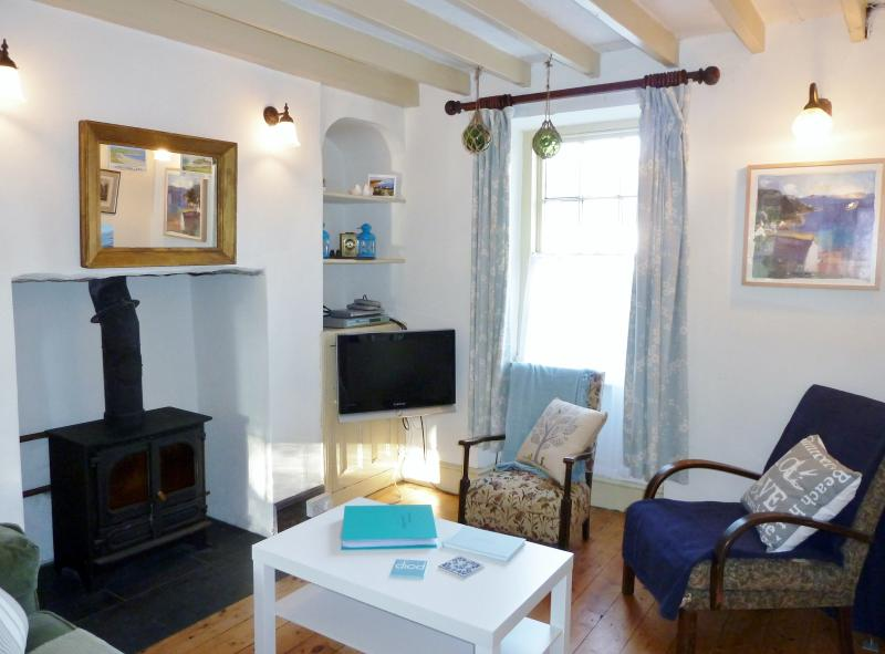 Cosy, living room with wood burner