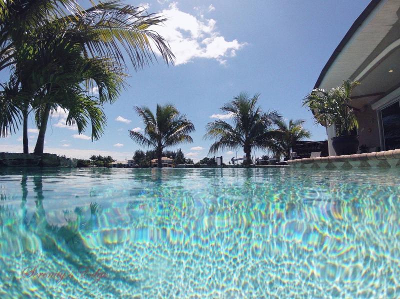 Heated saltwater infinity edge pool