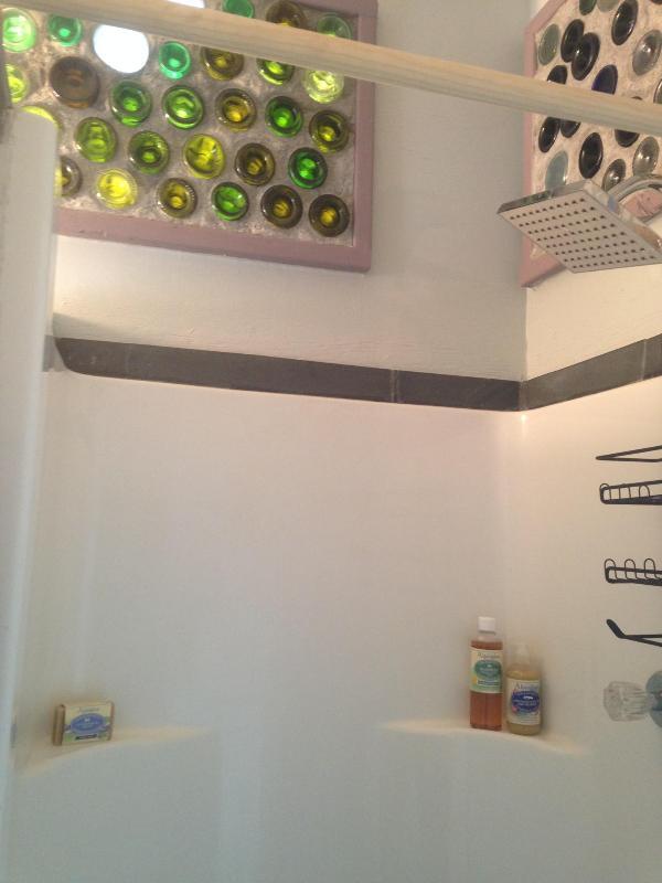 Bottlewalls sobre la ducha permiten que la luz coloreada hermosa