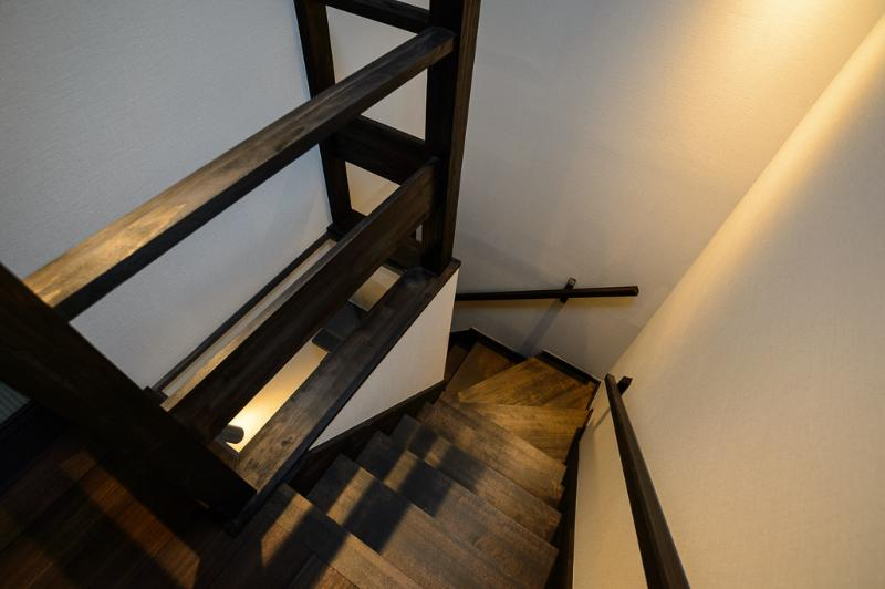 The stairs with light pit