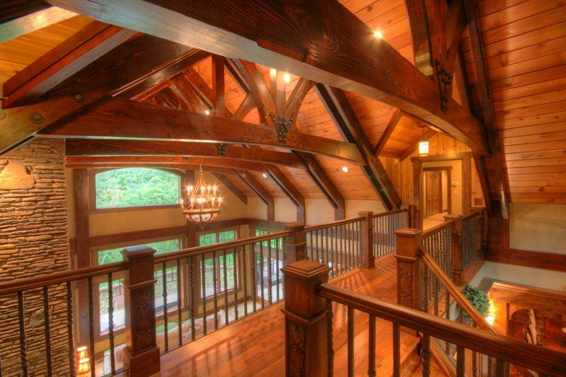 Adirondack Landing Overlooking Main Living Area Leading to Upstairs Bedrooms
