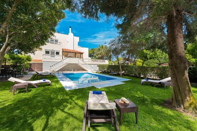 área da piscina está cheia mobilado com espreguiçadeiras elegantes e confortáveis almofadas