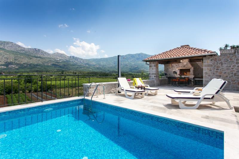 Swimming pool, pergola and terrace