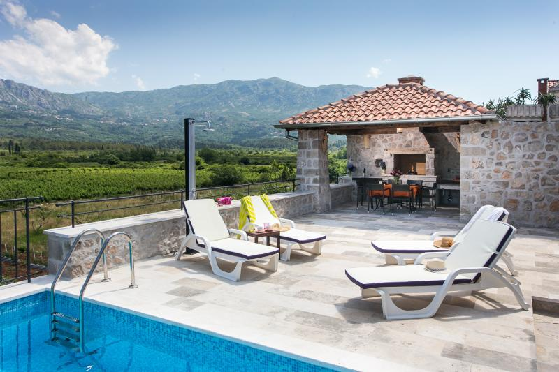 Swimming pool, pergola and terrace