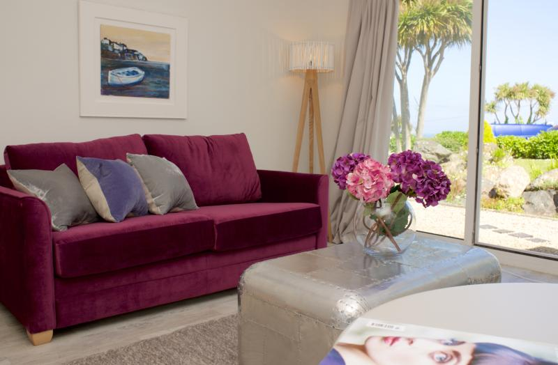 Living room with sea glimpse