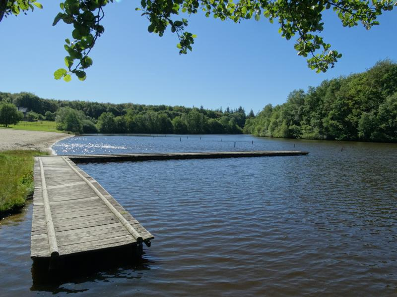 This lake in the Forest of Fougeres is 10 minutes away by car, and has a swimming/paddling beach
