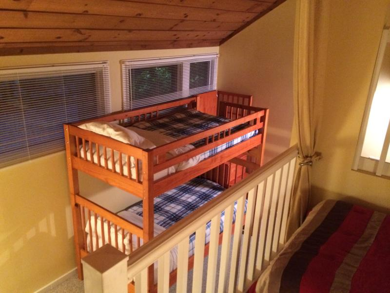 The loft area sleeps 4 people with a closet  and plenty of storage for clothes!