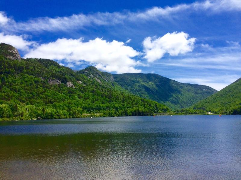 Echo Lake at Exit 34C. Just a 15 minute drive. Plenty of hiking trails and of course the Cannon Tram