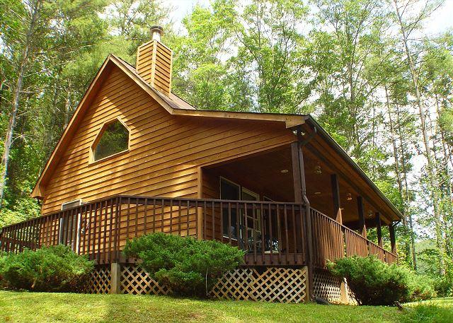 Enjoy the Carolina Mountain air on the covered porch.