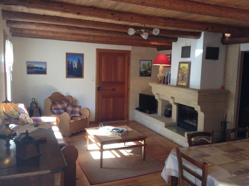la grande pièce a vivre avec la cheminée