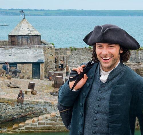 Aiden Turner (Ross Poldark) during filming at Charlestown