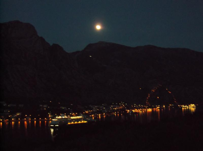 Magical Moonlight over Kotor bay viewed with a glass of vino from the Balcony