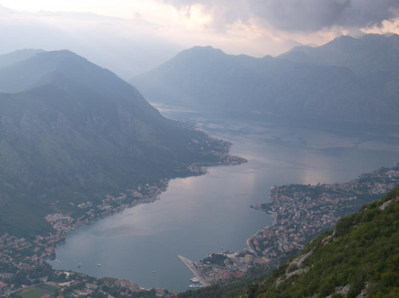 View over Kotor Town and Bay (Prcanj on left side of Bay)