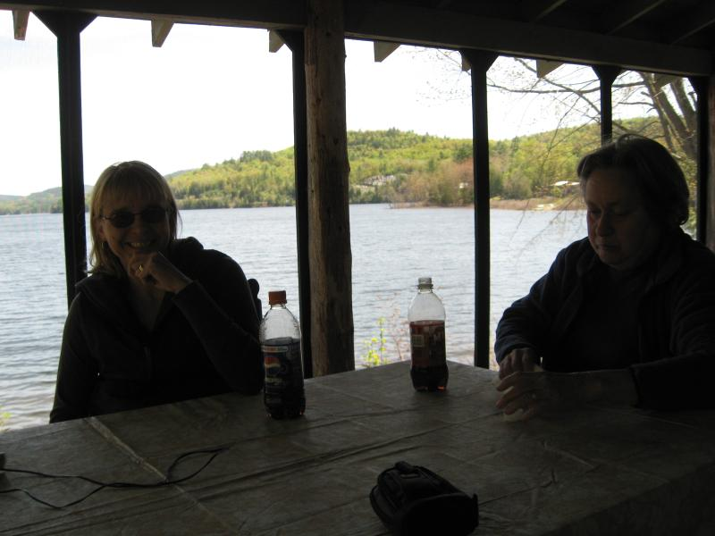 Dining on Mirror Cove's porch right on the lake!