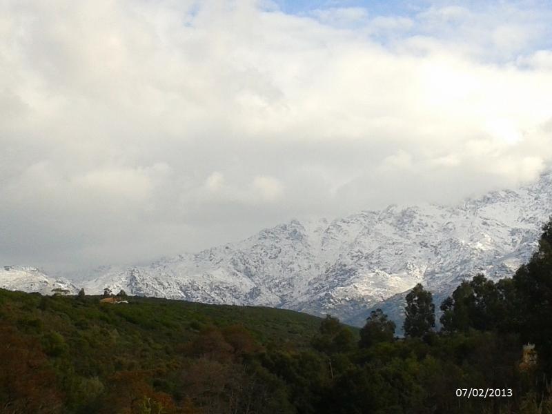 montagne enneigée vue de la propriété