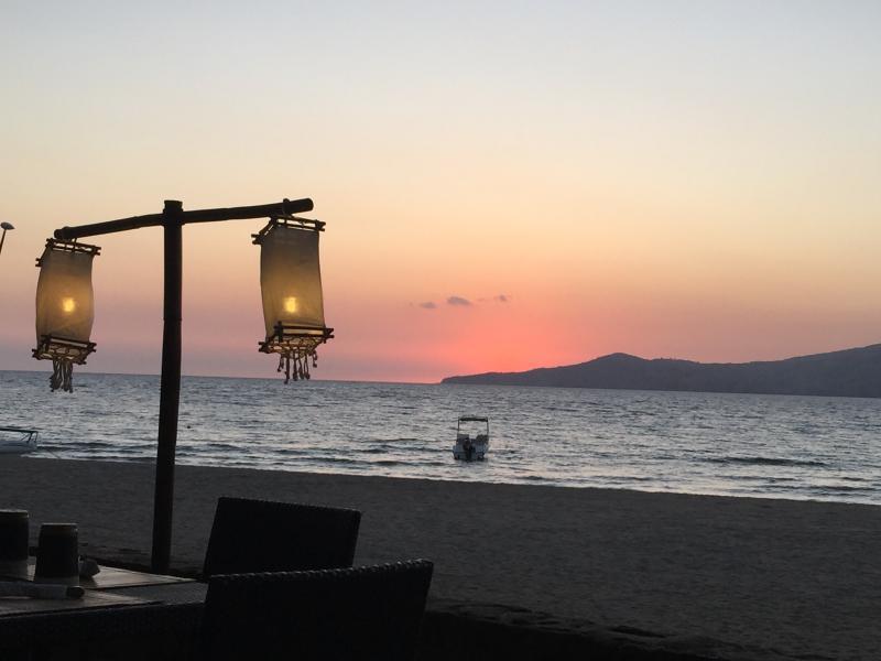 Beautiful sunset from the beach bar