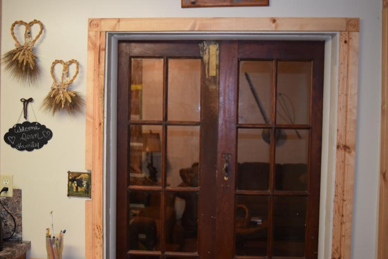 French doors into the living room