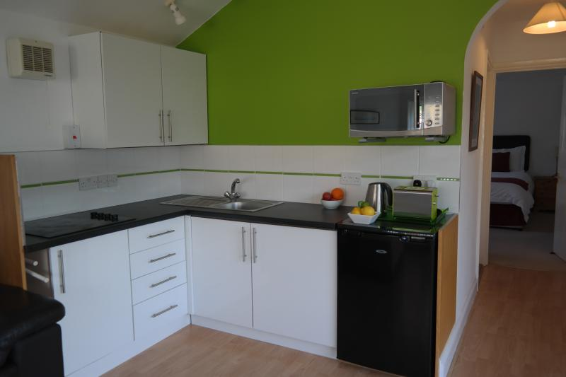 Kitchen area with fridge combination microwave oven halogen four ring hob