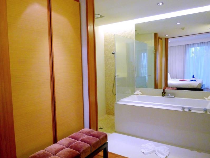 Large wardrobe and en-suite master bathroom with bathtub and shower