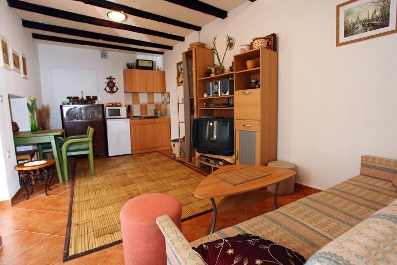 salon spacieux avec cuisine, coin salon avec télévision et salle à manger