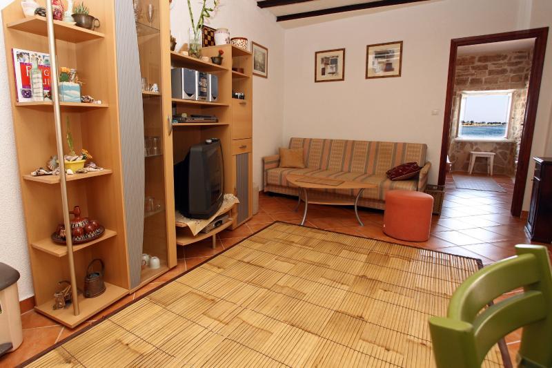 salon spacieux avec coin salon et TV