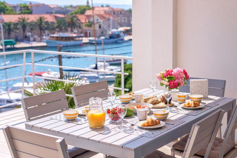 Terrace with the view over charming little town of Vrboska on the island of Hvar