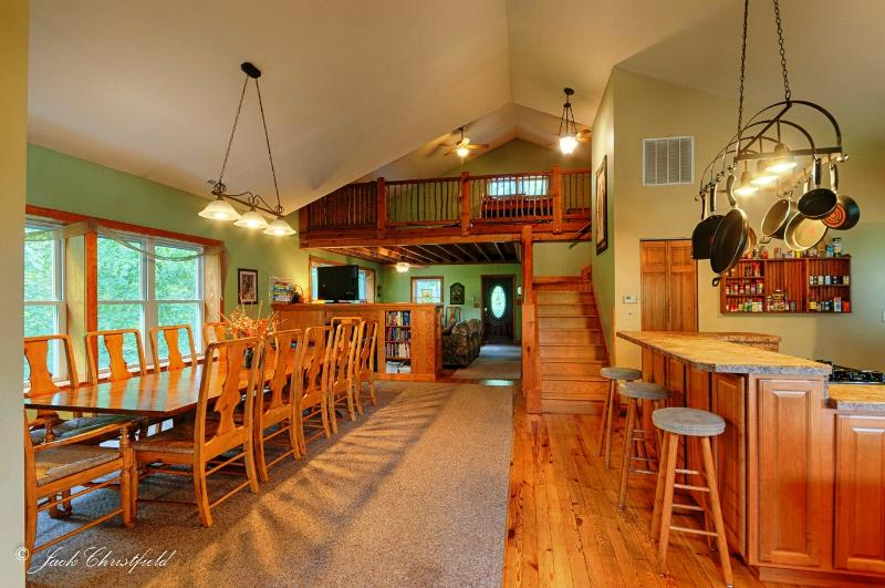 Dining Room and Kitchen, with Living Room in rear and Loft above.