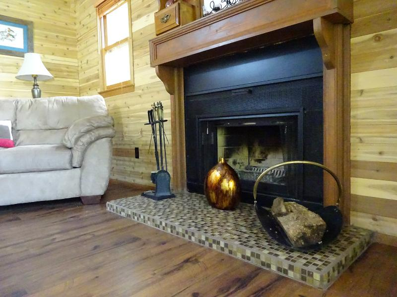 Fire place in the living room for the family gathering or a romanic night in