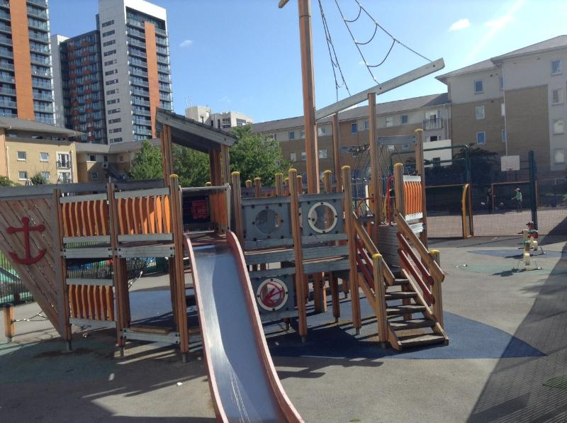 A children's playpark and mini basketball/football court is only steps from the apartment