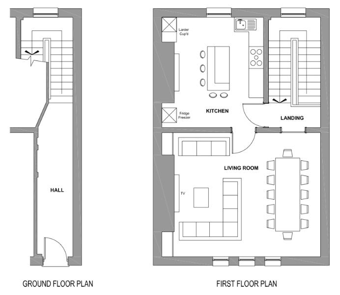 Ground and first floor plans