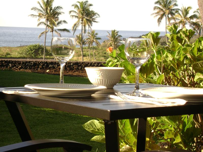 Enjoy every meal on the lanai with a great ocean view...you will never tire of it!